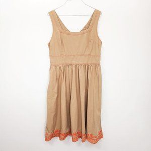 eShakti Embroidered Orange Khaki Fit Flare Dress